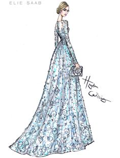"""haydenwilliamsillustrations: """"The lovely Lily James wearing ELIE SAAB Couture to the Cinderella premiere. """" I love seeing the sketches"""