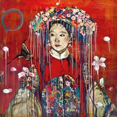 Hung Liu (Chinese-American:1948) -'Manchu Bride-Red ,' 2016