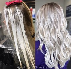 Trendy Hair Highlights : Balayage application & finished +Tips See here the best ever trends of ice blonde hair colors to show off right now. There are so many shades of blonde hair colors that you may use to sport with various hair lengths in these days. Ombre Hair Color, Hair Color Balayage, Cool Hair Color, Blonde Balayage, Hair Highlights, Hair Colors, Bayalage, Grey Ombre, Ice Blonde Hair
