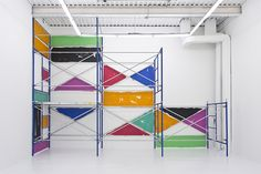 """Evan Robarts """"Scaffolding scaffolding, paint variable, 206 x 254 x 62 inches, x x cm Exhibition Plan, Exhibition Space, Stand Design, Design Art, Museum Displays, Scaffolding, Interior Lighting, Retail Design, Evans"""