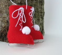 Red Ice skates out of felt