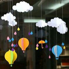 Decoration Creche, Board Decoration, Class Decoration, School Decorations, Paper Balloon, Balloon Crafts, Cute Kids Crafts, Diy And Crafts, Paper Crafts