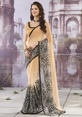 Light Coffee & Black Color Georgette Casual Party Sarees : Aryahi Collection YF-27650