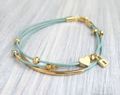 Heart and Lock Bracelet - Leather Charm Bracelet, Layered Leather Bracelet, Gold Bar Bracelet Multi Strand Stacked Bracelet, Bridesmaid Gift