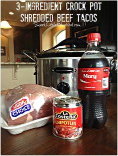 AWESOME 3-INGREDIENT SHREDDED BEEF TACOS |  SweetLittleBluebird.com