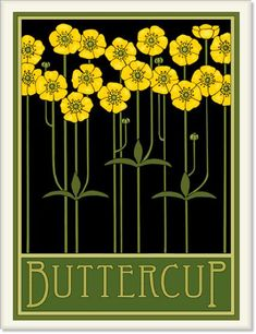 Buttercups Tile by Wildflower Graphics Botanical Drawings, Botanical Illustration, Botanical Prints, Illustration Art, Botanical Posters, Art Deco Flowers, Flower Art, Flower Tiles, Cactus Flower