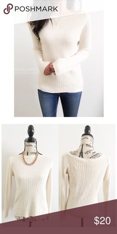 """Ann Taylor Cream Ribbed Knit Boatneck Sweater ✦ this super stretchy cream sweater has a ribbed knit with a wide boatneck style collar  ✦{I am not a professional photographer, actual color of item may vary ➾slightly from pics}  ❥chest:18.5"""" ❥waist:17"""" ❥length:23.5"""" ❥sleeves:26"""" ➳material/care:cotton/machine wash  ➳fit:true ➳condition:good, no rips/stains  ✦20% off bundles of 3/more items ✦No Trades  ✦NO HOLDS ✦No transactions outside Poshmark  ✦No lowball offers/sales are final Ann Taylor…"""