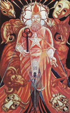 46947433f08398 Atu V - The Hierophant Aleister Crowley Tarot, The Hierophant, Tarot Major  Arcana,