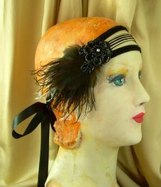alina flapper headband of 1920's striped and dotted trim by owllamode