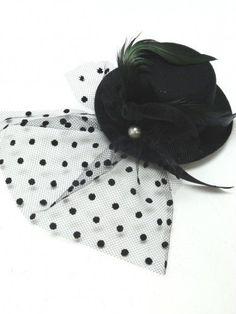 Fascinator Mini Black Top Hat Fancy Dress Moulin Victorian Burlesque 13cm
