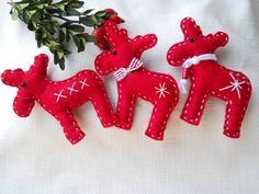 Karácsonyi filc rénszarvasok 3db-os , Dekoráció, Karácsonyi, adventi apróságok, Otthon, lakberendezés, Ünnepi dekoráció, Meska