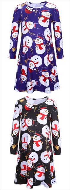 Girl's Christmas Snowman Graphic Loose Fit Dress