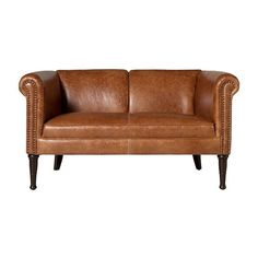 Rourke Leather Settee ($969) ❤ liked on Polyvore featuring home, furniture, sofas, nailhead trim sofa, nailhead sofa, nailhead furniture, leather furniture and leather sofa Tan Leather Sofas, Leather Furniture, Couch Sofa, Nail Head, Banquettes, Living Room Remodel, Nailhead Trim, Settee, Studio Ideas