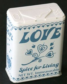 Spice for Living Tin Canister Love Gift Wrap Candy Jar Money Holder Box Xmas Vtg #spiceforliving #AnyOccasion