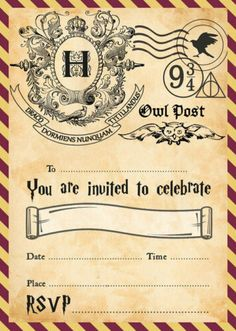 Harry Potter Party Invitations Plus FREE Envelopes Baby Harry Potter, Harry Potter Motto Party, Harry Potter Invitations, Harry Potter Thema, Harry Potter Halloween Party, Harry Potter Classroom, Harry Potter Printables, Theme Harry Potter, Harry Potter Baby Shower