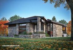 #Architecture#maison #contemporaine #création exclusive E-986 #moderne #design#concept #plan maison#bois#pierre