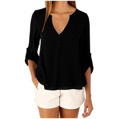 Women's Women Chiffon V-Neck Button Back Long Sleeve Blouse Top Shirts ($6.99) ❤ liked on Polyvore featuring tops, blouses, black, tops & tees, chiffon tops, long sleeve tops, long-sleeve shirt, long sleeve chiffon blouse and long sleeve v neck blouse