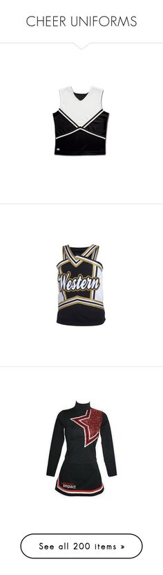 """CHEER UNIFORMS"" by polyvoreclothesgirl ❤ liked on Polyvore featuring sport, cheerleading, home, kitchen & dining, cheer, sports, uniform, cheer uniforms, skirts and cheerleader"