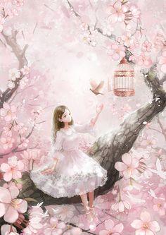 春-三本王wallace_春,少女,桃花,鸟,粉色,原创_涂鸦王国插画