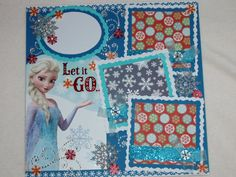 Disney Frozen Anna Elsa Olaf Birthday Winter Snowflakes 12x12 Premade Scrapbook Page by KARI