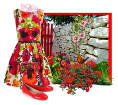 """""""Poppy Garden"""" by flowerchild805 ❤ liked on Polyvore featuring mode, Eva Franco, Mary Frances Accessories, Just Ballerinas, women's clothing, women, female, woman, misses en juniors"""