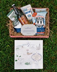 Guests at this Washington, D.wedding received maps of the area, local favorites such as Chesapeake Crab chips and Dominion root beer, and an American flag-shaped cookie honoring the Memorial Day weekend. Wedding Welcome Baskets, Wedding Gift Baskets, Wedding Welcome Gifts, Wedding Gifts For Guests, Beach Wedding Favors, Nautical Wedding, Our Wedding, Wedding Souvenir, Basket Gift