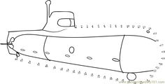 Download or print Submarine dot to dot printable worksheet from Transporation,Submarine connect the dots category.
