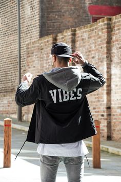 Vibes back print coach jacket, grey hoodie and longline tee by Wasted Heroes. Shop at www.wastedheroes-shop.com