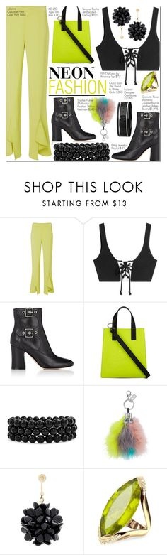 """Thalia"" by nindi-wijaya ❤ liked on Polyvore featuring Cushnie Et Ochs, Puma, Gianvito Rossi, Kenzo, Bling Jewelry, Sophie Hulme, Simone Rocha, Forzieri, Gucci and neon"