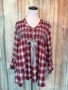 Sundance Catalog Plaid Flannel Tunic Blouse Shirt Red Gray Ribbon Cotton M  EUC! #Sundance #Tunic