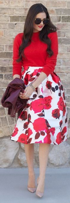Floral midi skirt + top red sweater.