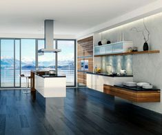 Kitchen:Modern Kitchen With Modern Sliding Glass Wall With Nature View With White Kitchen Island With Black Countertops Also White Kitchen Cabinets Completed With Kitchen Faucet Also Kitchen Sink Also Wooden Shelves With Dark Laminate Floor Make Best Kitchen Awesome Modern Kitchens: Top 100 Collections Inspiring Kitchen Designs