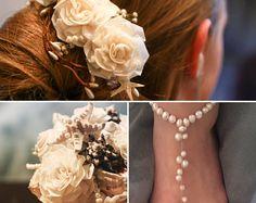 Bridal Set- Bouquet, Head Piece and Footless Shoe Sets