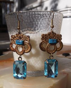 Aquamarine Blue and Brass Pierced Earrings   SOLD!