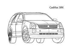 Super car Cadillac SRX coloring page, cool car printable free