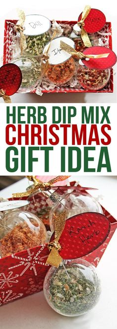 This is a cute neighbor gift idea. Fill glass ornaments with seasoning mixes and then just add them to sour cream to make party dip! #neighborgifts #christmas #giftideas