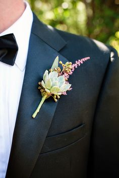 Rustic Succulent and Astilbe Boutonniere - Bouquet of Flowers - Bridal Style - Mens Style Tutorial Corsage Wedding, Flower Bouquet Wedding, Floral Wedding, Wedding Day, Bridal Bouquets, Groomsmen Boutonniere, Corsage And Boutonniere, Boutonnieres, Wedding Boutonniere