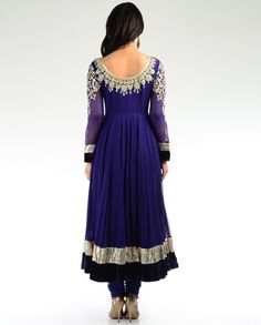 Deep Peacock Blue Embellished Kalidar Suit - Exclusively In
