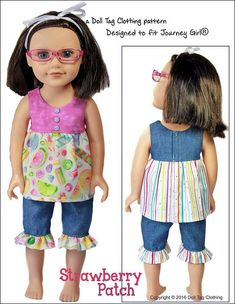 Pixie Faire Doll Tag Clothing Strawberry Patch Doll Clothes Pattern for Journey Girls Dolls - PDF Doll Patterns Free, Doll Clothes Patterns, Pdf Sewing Patterns, Cool Patterns, Clothing Patterns, Pajama Pattern, Pants Pattern, Girl Doll Clothes, Girl Dolls