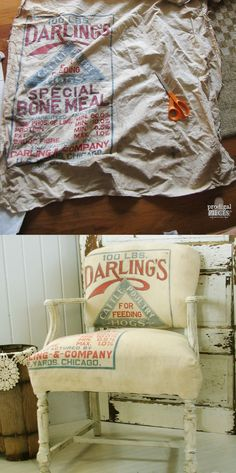 Antique Chair Gets Feed Sack Makeover