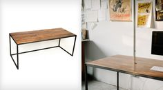 Wooden desk with industrial steel legs. The picture is of a large table: 183 cm x 91 cm and 72 tall. Shoppe, scoutmob