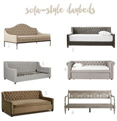 Sofa-Style Daybeds - like this idea for an office/guest room combo or a basement rec room