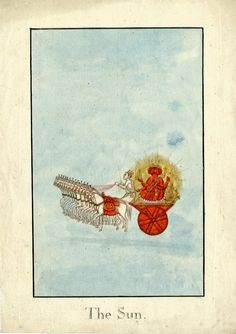 Surya, the Sun god, on a chariot pulled by fourteen white horses..  Company School, Patna, 19th century.