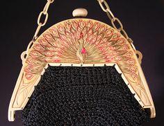 Proud Peacock celluloid purse