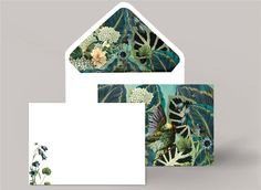 ***NEW*** Check out our gorgeous luxury jungle theme notelet cards, with coordinating lined envelopes! Stationery by Appleberry Press Unique Wedding Invitations, Wedding Stationery, Jungle Theme, Personalized Stationery, Envelopes, Berries, Decorative Boxes, Luxury, Cards
