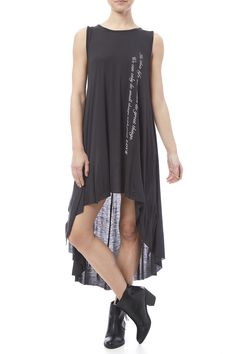 Knit tank dress with a crew neckline, dramatic high low hemline and a printed front.   In This Life Dress by Love in . Clothing - Dresses - Casual Naples, Florida