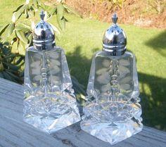 Eapg Salt Pepper Shakers Diamond Pattern Sterling Lids Eapg