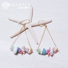 hp_p65 天然石&天然シェルデザインの14KGFピアス Mauloa Sea Jewelry, Seashell Jewelry, Jewelry Crafts, Beaded Jewelry, Jewellery, Handmade Accessories, Jewelry Accessories, Jewelry Design, How To Make Earrings