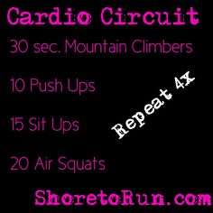 Total Body No-Weight Cardio Workout. Circuit Fitness Routine. No time? Repeat this circuit four times for a quick cardio workout to start your day, give you a boost, or top off a workout.