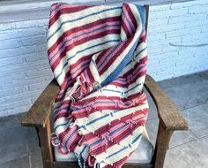 Excited to share this item from my #etsy shop: 80s Mauve & Blue Afghan Blanket Sofa Throw Striped Soft Cozy Southwestern Beach House Country Cottage Winter Granny Chic Boho Eclectic Deco